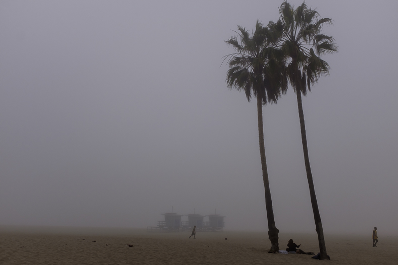 Beachgoers in Fog, Venice CA